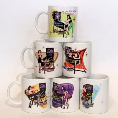 Set Of 6 Retro Pinball Mugs