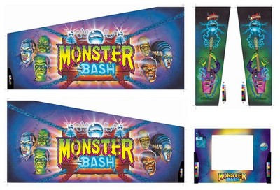 Monster Bash Pinball Cabinet Decal Set